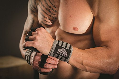 Bear Grips: Premium Extra Strength Wrist Wraps, Best Wrist Support, Wrist Brace, Crossfit Wrist Wraps, Weight Lifting Wrist Wraps and Wrist Straps for Workouts, Wods. Grey Series. 12″,18″, 24″